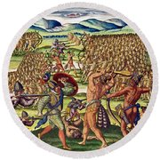 The French Help The Indians In Battle Round Beach Towel