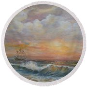 Round Beach Towel featuring the painting Sunlit  Frigate by Luczay