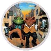 The Frog And Toad Round Beach Towel
