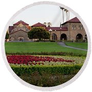 The Front Of Stanford University Round Beach Towel