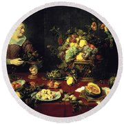 The Fruit Bowl Oil On Canvas Round Beach Towel