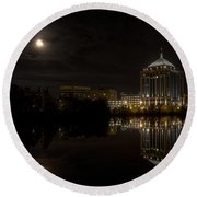 The Full Moon Over The Dudley Tower Round Beach Towel