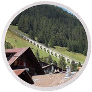 The Funicular In Murren Round Beach Towel