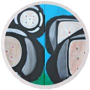 Round Beach Towel featuring the painting The Game Of Life by Lorna Maza