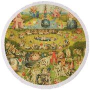 The Garden Of Earthly Delights Allegory Of Luxury, Central Panel Of Triptych, C.1500 Oil On Panel Round Beach Towel