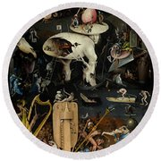 The Garden Of Earthly Delights. Right Panel Round Beach Towel by Hieronymus Bosch