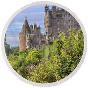 The Garden Of Glamis Castle Round Beach Towel