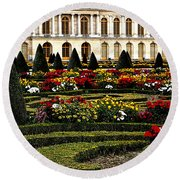 Round Beach Towel featuring the photograph The Gardens At Versailles by Tom Prendergast
