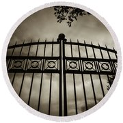 The Gate In Sepia Round Beach Towel