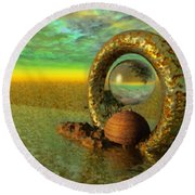 The Gate Of Reflections Round Beach Towel