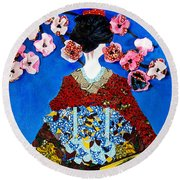 Round Beach Towel featuring the tapestry - textile The Geisha by Apanaki Temitayo M