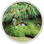 The Giant's Head Heligan Cornwall Round Beach Towel