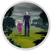 Round Beach Towel featuring the digital art The Gift Of Being 'daddy' by John Alexander