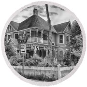 Round Beach Towel featuring the photograph The Gingerbread House by Howard Salmon