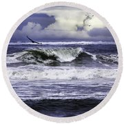 The Glory Of Morning On The Oregon Coast Round Beach Towel