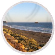 The Golden Coast Round Beach Towel