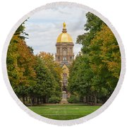 The Golden Dome Of Notre Dame Round Beach Towel