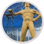 The Golden Driller - Tulsa Oklahoma Round Beach Towel