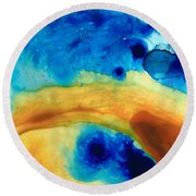 The Golden Gate - Abstract Art By Sharon Cummings Round Beach Towel