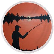 Round Beach Towel featuring the painting The Golden Hour by Norm Starks