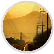 Round Beach Towel featuring the photograph The Golden Road by Matt Harang