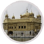 The Golden Temple In Amritsar Round Beach Towel