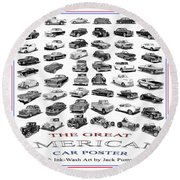 Great American Car Poster Round Beach Towel