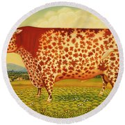 The Great Bull Round Beach Towel by Frances Broomfield