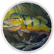The Great Peacock Bass Round Beach Towel