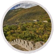 The Great Wall Of China At Mutianyu 2 Round Beach Towel