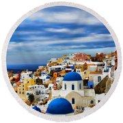 The Greek Isles-oia Round Beach Towel