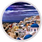 The Greek Isles Santorini Round Beach Towel by Tom Prendergast