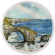 The Green Bridge Of Wales Round Beach Towel