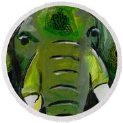 The Green Elephant In The Room Round Beach Towel