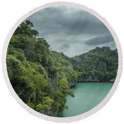 The Green Laguna Round Beach Towel by Michelle Meenawong