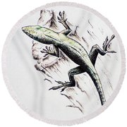 The Green Lizard Round Beach Towel by Katharina Filus