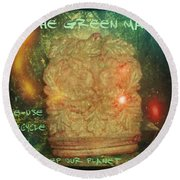 The Green Man - Recycle Round Beach Towel by Absinthe Art By Michelle LeAnn Scott