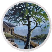 The Green Tree Round Beach Towel by Anthony Mwangi