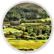 Round Beach Towel featuring the photograph The Green Valley Of Poisoned Glen by Charlie and Norma Brock
