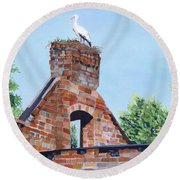 The Guard At Ruins  Round Beach Towel