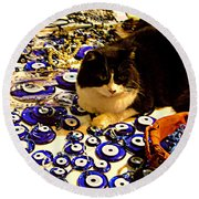The Guard Of Evil Eye Beads Round Beach Towel