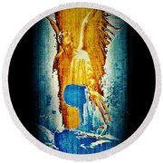 Round Beach Towel featuring the digital art The Guardian Angel by Absinthe Art By Michelle LeAnn Scott