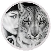 Round Beach Towel featuring the painting The Guardian by Pat Erickson