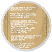 Round Beach Towel featuring the digital art The Guest House Poem By Rumi by Celestial Images