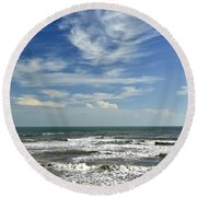 The Gulf Of Mexico From Galveston Round Beach Towel