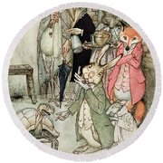 The Hare And The Tortoise, Illustration From Aesops Fables, Published By Heinemann, 1912 Colour Round Beach Towel