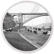 The Harlem River Speedway Round Beach Towel by Detroit Publishing Company