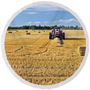 Round Beach Towel featuring the photograph The Harvest by Keith Armstrong