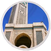 The Hassan II Mosque Grand Mosque With The Worlds Tallest 210m Minaret Sour Jdid Casablanca Morocco Round Beach Towel