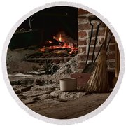 The Hearth - Fireplace Round Beach Towel